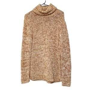 Calvin Klein Thick Knit Gold and White Sweater Lrg